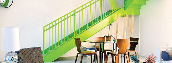 Dining room and green staircase